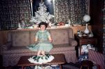 Woman, sofa, dress, coffee table, Tree, Presents, Gifts, Decorations, Ornaments, 1950s