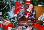 Christmas Tree, Presents, suitcase, typewriter, unwrapping presents, 1960s
