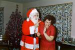 Santa Claus Scolds Mom, laughing, funny, finger pointing, 1950s