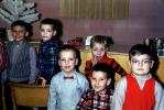 Boys, bowtie, vest, glasses, 1950s