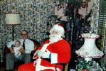 Santa Claus, Father with Baby, toddler, lamps, 1950s