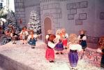 Christmas Scene, dolls, snow, dancers, castle, 1950s