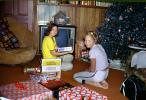 Children at the kids table, boy, girls, television, 1950s