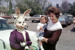 Rabbits, Bunny, Eggs, Girl, Woman, toddler, cars, April 1966, 1960s, PHEV01P02_15