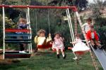 swing set, slide, backyard, lawn, smiles, smiling, cute, 1950s, PLGV03P05_17B