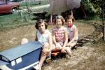 backyard train, Girls, Miniature Train, Riding, smiles, smiling, cute, Akron Ohio, September 1959, 1950s, PLGV03P11_04