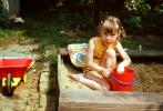 Sand Box, Pail, Wheelbarrow, Girl, Backyard, 1960s