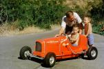 Red Race Car, Pedal car, Boys, Driving, Father, Son, Race Car, Russell Johnson Auto Painting, Hollywood California, 1950s