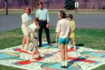 Vintage Parcheesi board game, towel, cloth, girls, boys, May 1968, 1960s