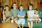 Family, Group, Sofa, Sisters, Brothers, Siblings, smiles, smiling, cute, boys, girls, July 1960, 1960s, PLPV12P11_18