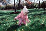 Girl, Toddler, Backyard, Autumn, Cold, Coat, Jacket, Hat, 1960s