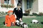 Hat, Coat, Puppies, Puppy, boy, girl, frontyard, 1950s, PLPV17P01_19