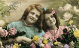 1920's, RPPC, Dress, smiles, two girls, fiends, flowers
