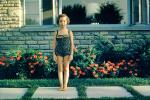 Girl, Pose, Flowers, Brick, Swimsuit, 1950s