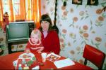 Television Rabbit Ears, Table, Daughter, Wallpaper, Flowery, 1960s