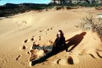 Lady and her Shadow, Coral Pink Sand Dunes State Park, Utah, PORV13P09_09
