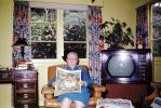 reading the newspaper, TV, Television, 1950s, PORV24P05_13