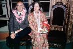 Flowery Dress, Lei, smiles, food, man, woman, glasses, October 1964, 1960s, PORV24P09_14