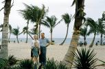 Beach, Palm Trees, parents, son, mother, father, 1950s, PORV26P09_10