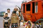 American Indian, Warbonnet, Stage Coach, Family Group, girls, mother, daughter, 1950's, PORV30P01_14