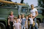 Man with the neighborhood kids, boys, telephone truck, serviceman, t-shirt, 1950s, PORV30P08_10