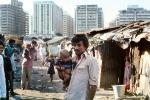 Father with Baby Boy, slum, apartments, buildings, contrast, rich, poor, Nariman Point, POVV01P09_15