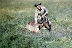 Cheetah poaching, Poacher, Hunter, poached, rifle, African Antelope, Africa, African, 1951, 1950s, PRGV01P10_12