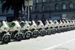 SFPD, Line of Parked Police Motorcycles, PRLV02P06_18