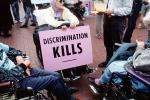 Discrimination Kills, lady in a wheelchair, Earth Day 1990, PRSV03P08_11