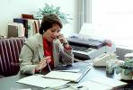 Business Woman, woman on the phone, desk, folder, typewriter, paper, paperwork, PWWV01P02_15