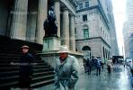 rainy day, madmen, Wall Street, George Washington, steps, buildings, sidewalk, outside, outdoors, 1980s, PWWV01P13_06