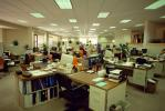 cluttered open office, cubicles, paper, computers, desks, in-out files, stacks, vanishing point, 1980's, PWWV02P06_10