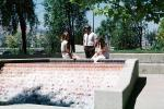 Business Woman, businessman, Water Fountain, aquatics, sunny, meeting, 1980s, PWWV02P06_14