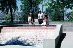 Business Woman, businessman, Water Fountain, aquatics, sunny, meeting, 1980s, PWWV02P06_16