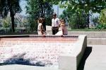 Business Woman, businessman, Water Fountain, aquatics, sunny, meeting, 1980s, PWWV02P06_17