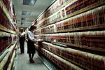 File Folders, Records Hall, Record Keeping, Paper Rows, paperwork, bureaucracy, archive, clutter, documents, dossier, women, workers, vanishing point, 1980's, PWWV02P09_02