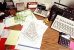 calculator, keyboard, radio, clutter, radio, cordless phone, desk, paperwork, stencils, PWWV06P14_07