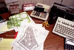 calculator, keyboard, radio, clutter, radio, cordless phone, desk, paperwork, PWWV06P14_08