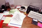 calculator, keyboard, radio, clutter, radio, cordless phone, desk, paperwork, PWWV06P14_09