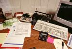 calculator, keyboard, radio, clutter, radio, cordless phone, desk, paperwork, PWWV06P14_10