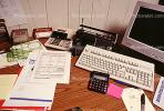 calculator, keyboard, radio, clutter, radio, cordless phone, desk, paperwork, PWWV06P14_11