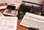 calculator, keyboard, radio, clutter, radio, cordless phone, desk, PWWV06P14_12