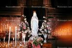 Virgin Mary Statue, Praying, Candles, Altar, Flowers, La Madeleine Church, RCTV01P08_16.2646