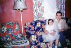 Mother, Daughter, Father, girl, dress, formal, First Holy Communion, 1940s
