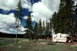 Trailer, Forest, Campsite, Evergreen Trees, RVCV01P06_09