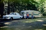 Car, Trailer, forest, trees, glamping, Automobile, Vehicle, 1950s, RVCV01P11_14