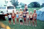 Children at Campground, smiles, boys, girls, Ford Station Wagon, 1960s, RVCV01P14_01