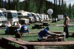roadside stop, Picnic Table, campfire, benches, forest, glamping, Motorhome, Muncho Lake, June 1993, RVCV02P03_01