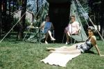 Girl, Female, Feminine, woman, lady, Adult, Person, Tent, Chairs, May 1962, 1960s