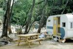 Trailer, Picnic Table, forest, Rive, April 1962, 1960s
